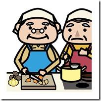食事をつくる老夫婦
