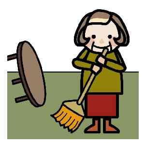 掃除をする高齢者