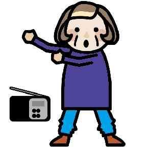 ラジオ体操をするおばあちゃん