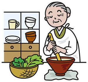 食事を作る高齢者