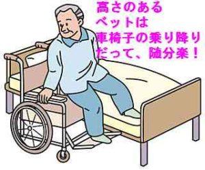 ベッドから車いすへ移動するところ