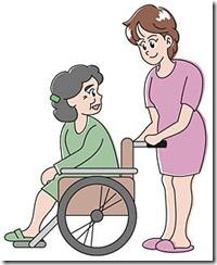 車椅子をひく女性