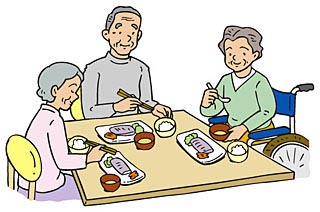 施設で食事をする高齢者