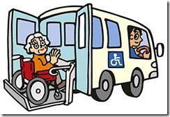 介護タクシーに乗る高齢者