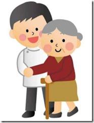 理学療法士に介助を受けて歩く高齢者