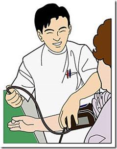 血圧を測定しているイラスト