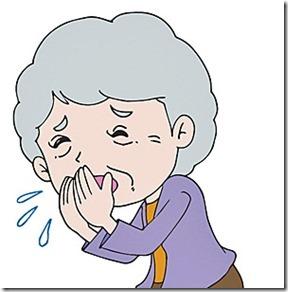喉をつまらせる高齢者