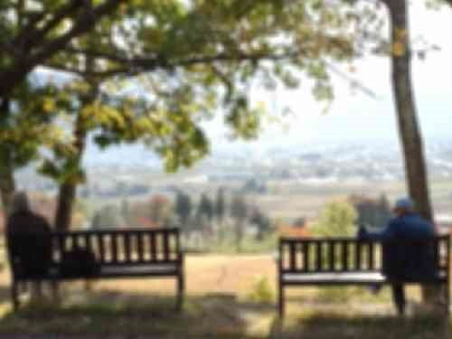 ベンチに座る高齢者