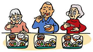 3人で食事をする高齢者