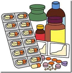 薬の瓶と粒上の薬
