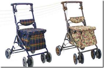 買い物かごが置ける格子・花柄のシルバーカー(歩行器)