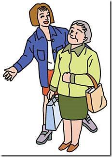 高齢者に道を誘導する女性
