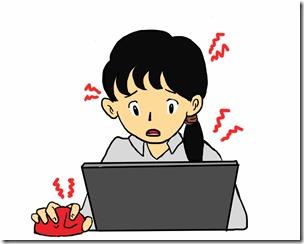 パソコンを使っている女性が体調不良