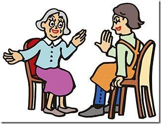 調査員と高齢者