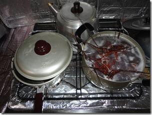 伊勢海老調理中の鍋