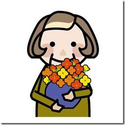 花束を持つ母