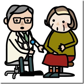 診察を受けるおばあちゃん