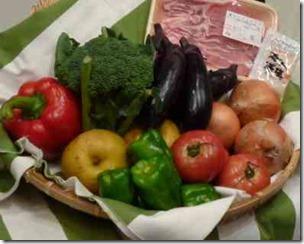 カゴに入った野菜と果物と肉
