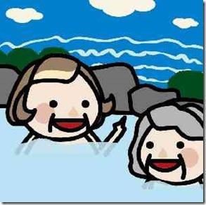 温泉に入るおばあちゃん